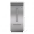"""Refrigerador/Congelador SUB-ZERO Empotre (Puerta Francesa con Jaladera Profesional) (Despachador Interior) 36"""" - BI-36UFDID/S/PH"""